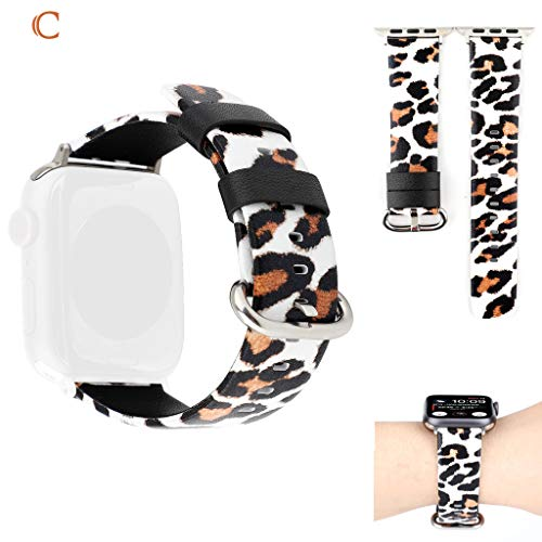 Watch Band for Men Women Quick Release Watch Strap Top Grain Leopard Pattern Printing Replacable Band for Apple Watch Series 4/3/2/1 38/40mm ()