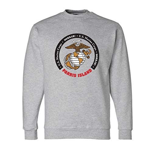 - eMarinepx USMC Parris Island Crew Neck Sweatshirt Large Grey