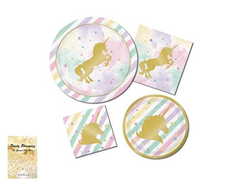 Unicorn Pink & Metallic Gold Sparkle Party Supplies - Disposable Paper Dinnerware - 16 Guests - Includes Dinner Plates, Dessert Plates and Napkins (Snap Shimmering Stars Design)