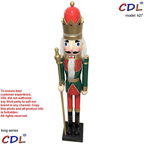 CDL 48'' 4ft tall life-size large/giant green Christmas wooden nutcracker king on stand holds golden scepter for indoor outdoor Xmas/event/ceremonies/commercial decoration(4 feet,king green k27) by ECOM-CDL (Image #1)