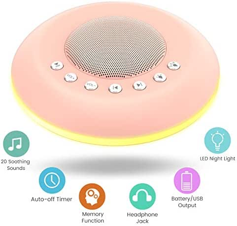 ODOMY White Noise Sound Machine for Sleeping with 20 Non-Looping Soothing Sounds Colorful Gradual Night Light Baby/Kids/Adults Sleep Therapy Sound Machine with Auto-Off Timing and Memory Function …