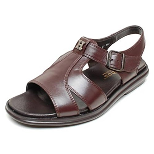 EpicStep Men's Brown Genuine Leather Open Toe Gladiators Fisherman Strap Sandals Shoes 10 -