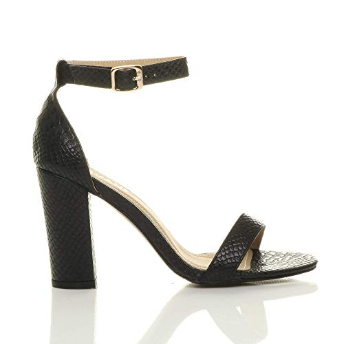 Noir Lanières Large Serpent Haute Ajvani Chaussures Pointure À Bout Femmes Talon Sandales Ouvert 7RgU6qw