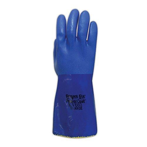 Sperian KV660-08 SHOWA Atlas KV660 Kevlar Knit Gloves with Full PVC Coating, Cut Level 3, Size 8, Blue (Pack of 12) by Sperian (Image #1)
