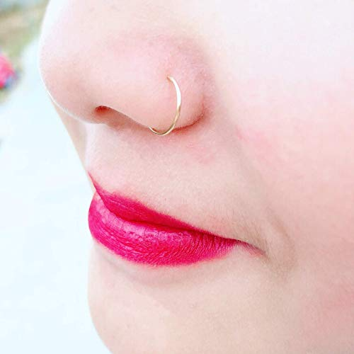 Thin Small 8mm Gold Nose Ring Hoop 22 Gauge 14k Gold Filled Tiny Nose Piercing Jewelry for Women Adjustable