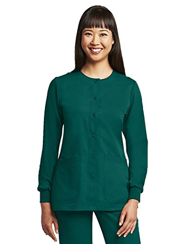 Grey's Anatomy Women's Round Neck Warm Up Scrub Jacket XXXX-Large Hunter Green -