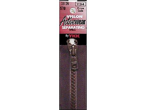 "YKK Vislon 1-Way Separating Zipper, 18"", Sable Brown"