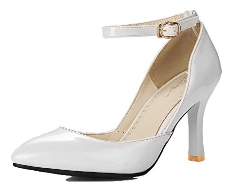 VogueZone009 Femme Boucle à Talon Haut PU Cuir Couleur Unie Chaussures Légeres Blanc