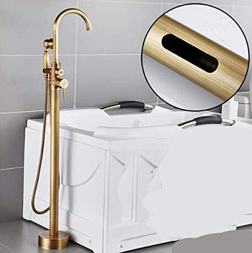 バスタブミキサータップフロアは、ハンドヘルドスプレーシャワーと蛇口は、ニッケルブラシ無料のバスルーム用のバスタブ蛇口浴槽フィラー蛇口を立っマウント