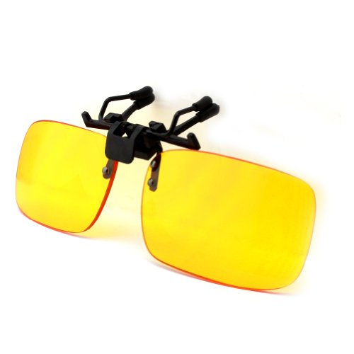 Duco Clip on Rimless Ergonomic Advanced Computer Glasses with Yellow Lens for Myopia 8010