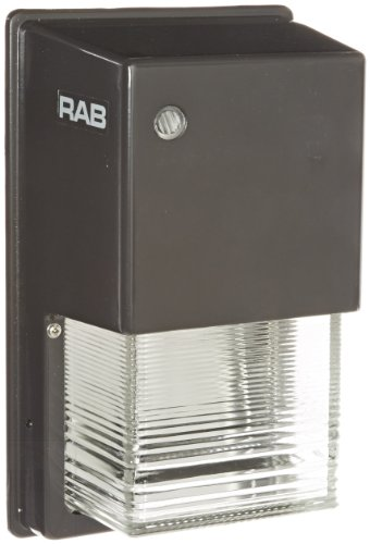 RAB Lighting WPTGHN50 Tallpack Metal Halide Wallpack with Prismatic Glass Refractor, ED17 Type, 50W Power, 3400 Lumens, 120V, HX-NPF Ballast, Bronze Color