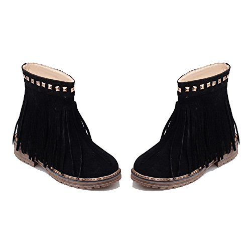 Frosted Rivet WeiPoot Round Black Women's On Boots with Low Toe Heels Closed Top Pull Low qOXrR8O