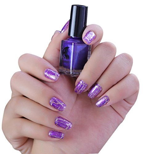 (Oksale 6ML Cracked Nail Shatter Nail Kit Nail Polish Included Base Set - Pack of 3 (F))