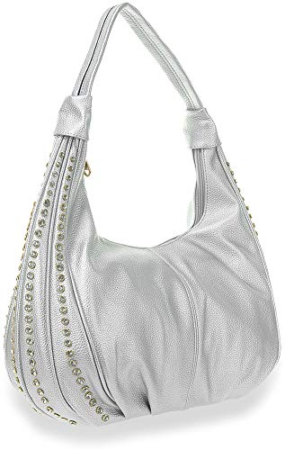 - Stone Accented Hobo Handbag