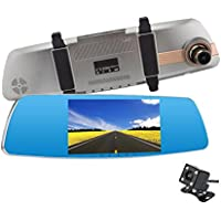 CLEVER BEAR Touch Screen Dash Cam Dashboard Camera RecorderHD 1080P 5 Inch Car Dvr Mirror Dual Car Dvr Dual Lens Camera with G-Sensor and Motion Detection