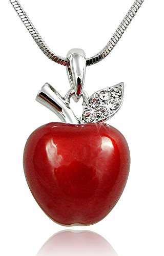 Gift for Teachers - 3D Juicy Red Apple Crystal Accented Leaf Pendant Necklace Jewelry Gifts for Mom Mother's Day ()