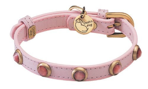 "10.5""-12"" neck, Cat Eye Pebbie Light Pink Leather Dog Collar - Size: SMALL 1/2"" wide"