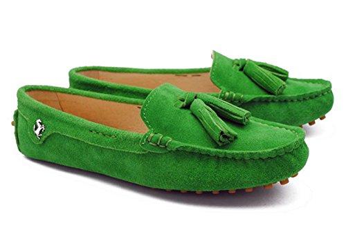 Tda Womens Pelle Nappa Slip On Driving Walking Trail Running Mocassini Scarpe Da Barca Multi Color Verde Pallido