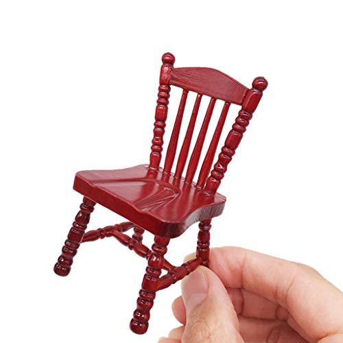 NszzJixo9 1:12 Vintage Mini Dollhouse Furniture Carved Chairs Miniature Kids Pretend Play Toys, Miniature Room Kids Pretend Play Toy Dollhouse Miniature ()
