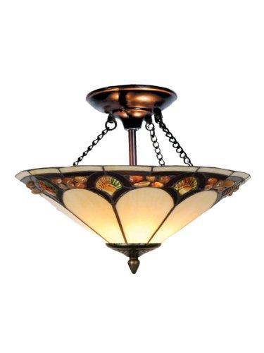 Art Glass Ceiling Light (Dale Tiffany TH10493 Tiffany Pebblestone Ceiling Light, Antique Bronze and Art Glass Shade)