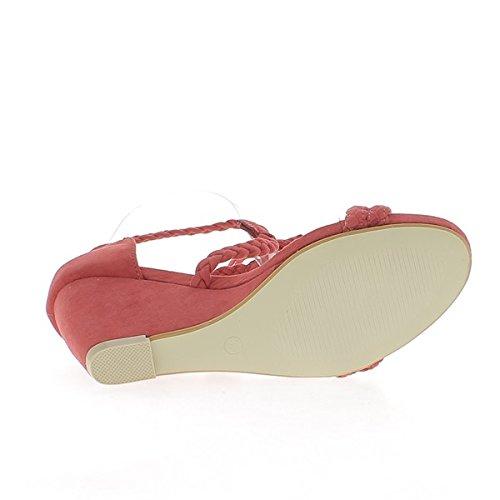Sandales À Talon Compensé Rouge 8cm Lacets En Daim Et Brides Tissées