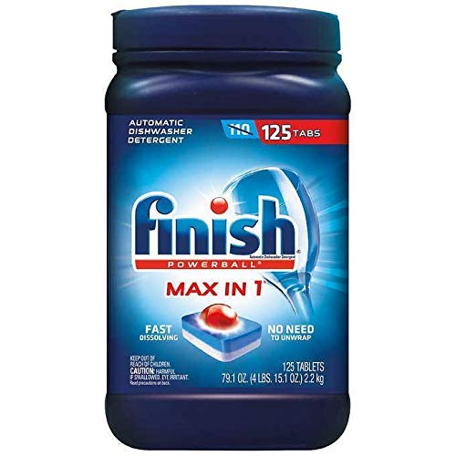 Finish Max in 1 Plus Dishwasher Detergent 125-Count Easy to use Wrapper Free Powerball Tabs in Convenient Mess Free (1 Pack (125 -