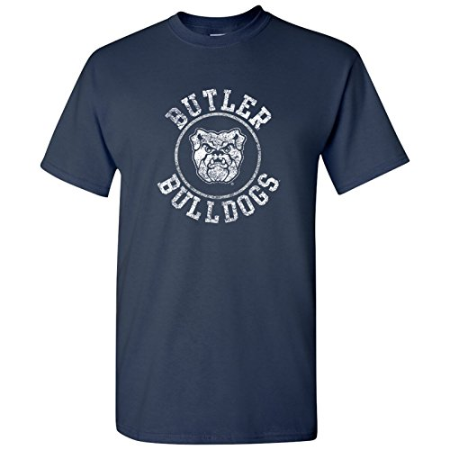 UGP Campus Apparel AS04 - Butler Bulldogs Distressed Circle Logo T-Shirt - X-Large - Navy