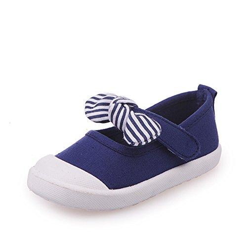 Kids Canvas Flats School Outdoor Slip on Sneaker with Stripe Bowknot,Dark Blue Toddler Size 5.5