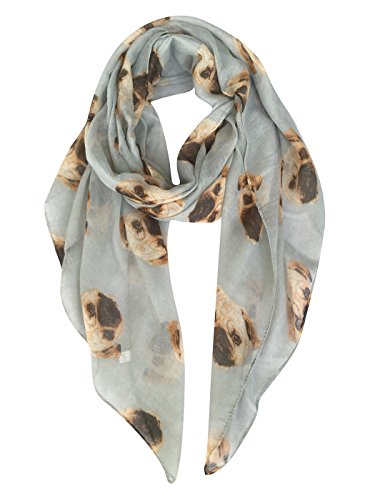 GERINLY Animal Print Scarves: Cute Dogs Pattern Voile Oblong Scarf (Grey)