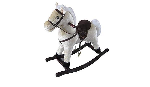 The Rocking Horse Co Blanco Caballito de Madera - Peluche Acabado ...
