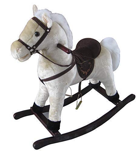 The Rocking Horse Co Blanco Caballito de Madera - Peluche Acabado ...