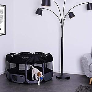 Dibea Pp00256 – Parque para Cachorros y Perros, Plegable, para Interior y Exterior, Color Negro y Gris
