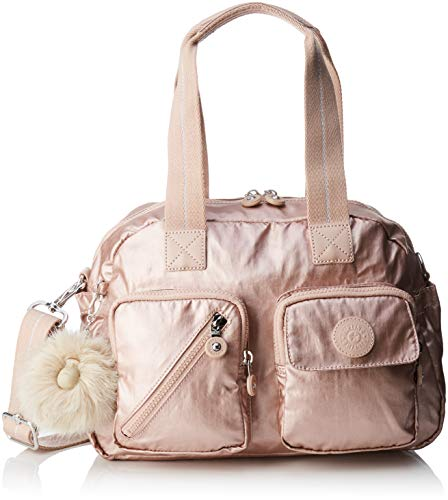 Metallic Satchel Handbag - Kipling Defea Up, Women's Satchel, Gold (Metallic Blush), 19x33x24.5 cm (B x H T)