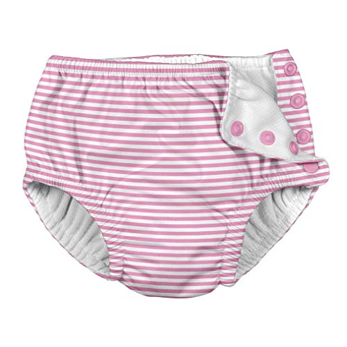 i play. by green sprouts Clothing, Shoes & Jewelry Baby Girls Swim Diaper, Light Pink Pinstripe, 6 Months