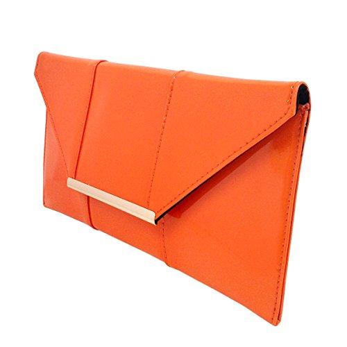 Leather Clutch Patent Orange Envelope Faux Candy 5vqgf1gw