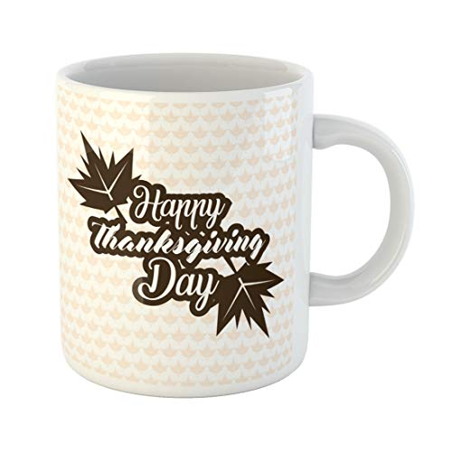 Semtomn Funny Coffee Mug Abstract Flat Happy Thanksgiving Day Logotype Badge and Basket 11 Oz Ceramic Coffee Mugs Tea Cup Best Gift Or - Basket Greetings Holiday Fruit