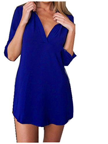 Fanessy Mujeres Camiseta Con Manga Larga V Cuello Sólido Color Mujer Blusa Azul