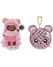 Na Na Na Surprise 2-i-1 modedocka & metallisk handväska glam-serie - samlarobjekt - rosa hårdocka med rosa björnväska - Cali Grizzly