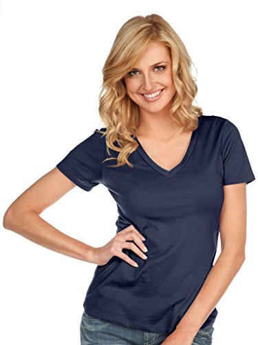 Kavio! Women Sheer Jersey Deep V Neck Short Sleeve Navy M