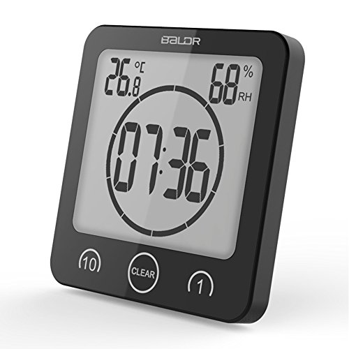 Waterproof Digital Shower Clock, Suction Cup Bathroom Shower Clock With LCD Display Screen, Humidity Temperature Display Timer With Bracket, Touch Screen Timer For Home Kitchen (Lcd Kitchen Bracket)
