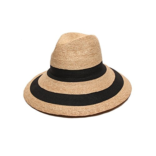 Gottex Women's Newport Raffia/Toyo Fedora Sun Hat, Rated UPF 50+ For Max Sun Protection, Natural/Black, Adjustable Head - Head Hilton Sunglasses