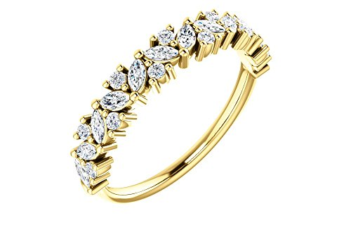 Jewels By Lux 14K Yellow Gold 1/2 CTW Diamond Tilted Marquise Anniversary Wedding Ring Band ()