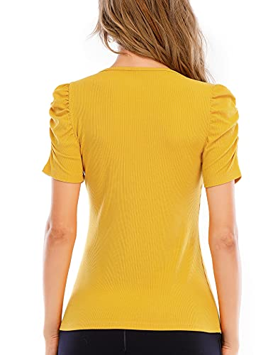 IECCP Womens Puff Short Sleeve Top V-Neck Tunic Casual Ribbed Knit T-Shirts Elegant Slim Blouse Yellow