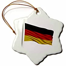 Ornaments to Paint 157164_1 Flag of Germany on a Flag Pole Over White German Porcelain Snowflake Ornament, 3-Inch