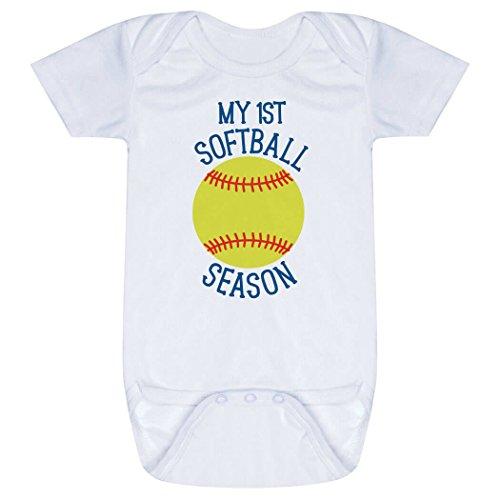 Softball Onesie (Softball Baby & Infant Onesie | My First Softball Season | One Piece Medium)