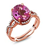 4.15 Ct Pink Mystic Topaz White Created Sapphire 18K Rose Gold Plated Silver Ring
