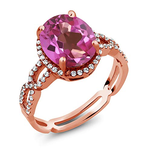 4.15 Ct Pink Mystic Topaz White Created Sapphire 18K Rose Gold Plated Silver Ring (Size 7)