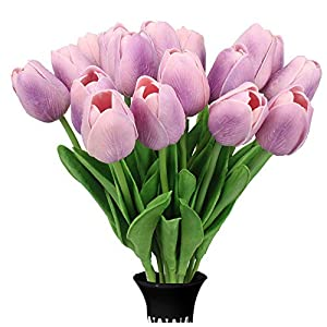 SOFEELING 18pcs Tulips Artificial Flowers Bouquet Leaves Wedding Home Office Decorations 57