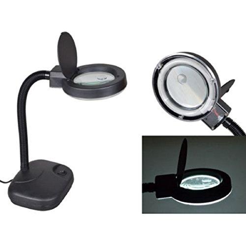 Magnifier Lamp Tabletop Gooseneck Magnifying Adjustable Desk Light Black 5X - Goggles D&g