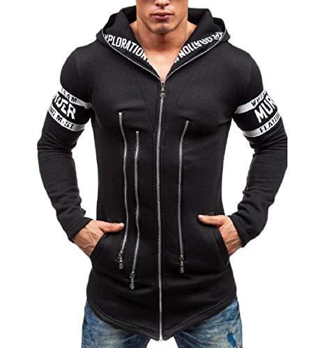Slim Zip Men Size Plus Juniors' Autumn Howme Black Fit up Hoode Sweatshirt H56pcqw